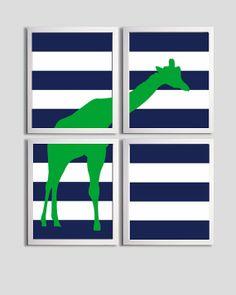 Kids Wall Art Nursery Boy Art Stripe Giraffe Stripes Zoo Safari Navy Kelly Green set of 4 prints