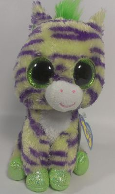 """Rare Ty Beanie Boo Boos 6"""" Plush WILD Zebra Purple Green With Tags Collectible  #Ty"""