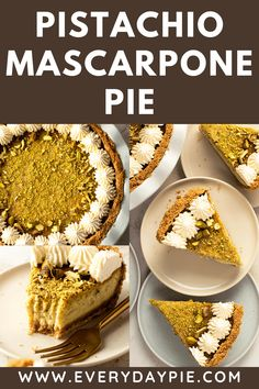 This Pistachio Pie with Mascarpone features a tangy baked custard with pistachio crumbs inside of a crunch salty pretzel crumb crust. It's a wonderful blend of flavors and textures and is a show stopping pie to serve for dessert. Pistachio Pie, Pistachio Recipes, Tart Recipes, Baking Recipes, Meal Recipes, Sweet Pie, Sweet Tarts, Apple Slab Pie, Pretzel Crust