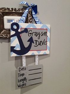 Bon Nautical Anchor Hospital Door Hanger Red White And By ShopAdsGrace