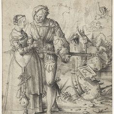 1500 - 1528 Urs Graf (SWISS) Soldier and a young woman in a landscape