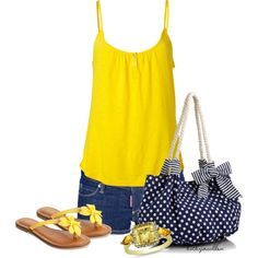 """Blue Denim & Yellow Contest"" by bitbyacullen on Polyvore"