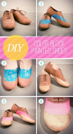 DIY color block painted shoes via The Lovely Dept.