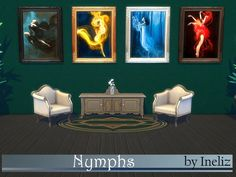 A set of 4 paintings of the most magical forest beings - Nymphs. Enjoy! Found in TSR Category 'Sims 4 Painting and Poster Recolors'