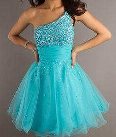 Blue one shoulder short dress