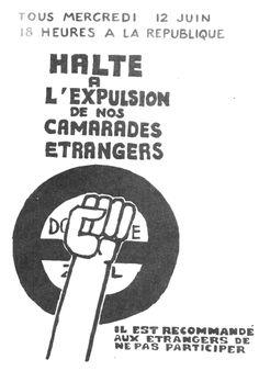 1968 mai Halte à l'expulsion de nos camarades étrangers.Affiche de l'atelier populaire des Beaux-arts