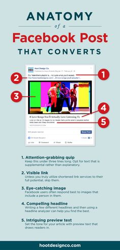 These are the essential parts of a great Facebook post that converts readers and drives traffic to your website. Pin for later or click through to read now –and start creating more effective Facebook posts for your small business or blog!   Hoot Design Co. blogging, web design, business and social media resources for small businesses