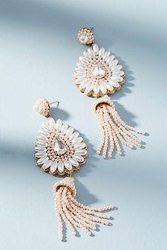 Anthropologie Pearl Tassel Drop Earrings