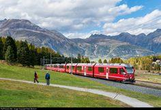 BEX Bernina-Express 975 from St. Moritz (15:22) to Tirano (17:27) entering Pontresina.