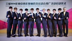 EXO look smart in suits for 'Samsung Nanjing 2014 Youth Olympic Games Campaign Launch' | http://www.allkpop.com/article/2014/07/exo-look-smart-in-suits-for-samsung-nanjing-2014-youth-olympic-games-campaign-launch