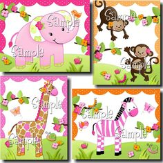 Spring SALE Pink Jungle Animal Girls Single Light Switch Cover