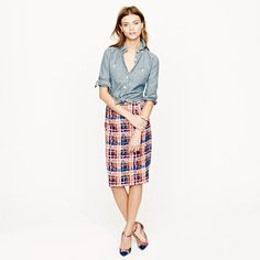 Collection Pencil Skirt in Electric Plaid - J Crew