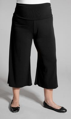 Wide legged plus size gaucho pants are super stretchy and easy to wear! A fold over waistband and super comfy to wear.