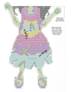 Night of the zombies girl WH 2 Plastic Canvas Books, Plastic Canvas Crafts, Plastic Canvas Patterns, Halloween Canvas, Halloween Crafts, Cross Stitching, Cross Stitch Embroidery, Zombie Girl, Halloween Cross Stitches