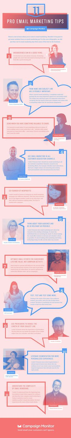 There's a lot to learn when you're new to email marketing. Wouldn't it be great to get some wisdom from an email marketing pro? In this new infographic, we did just that. Get 11 email marketing tips from some of the best in the business. Marketing Services, Email Marketing Campaign, Sales And Marketing, Content Marketing, Internet Marketing, Affiliate Marketing, Social Media Marketing, Digital Marketing, Marketing Tactics