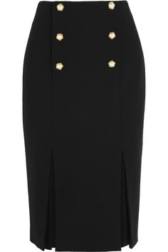 Alexander McQueen Button-detailed wool-crepe pencil skirt
