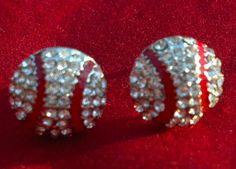 New+Baseball+Rhinestone+Stud+Earrings+by+ECDazzle+on+Etsy,+$8.79