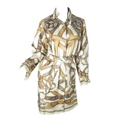 Rare Hermes Printed Silk Trench Coat Runway by Gaultier 2008 | From a collection of rare vintage coats and outerwear at https://www.1stdibs.com/fashion/clothing/coats-outerwear/