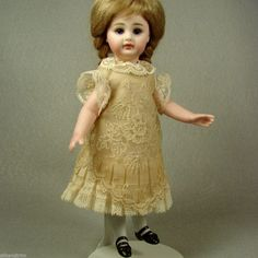 """Antique Embroidered Netting Lace Dress for 7.5"""" Mignonette All Bisque Doll No.186 made by Carol H. Straus, 2014. #silkandtrim carolstraus.com SOLD"""
