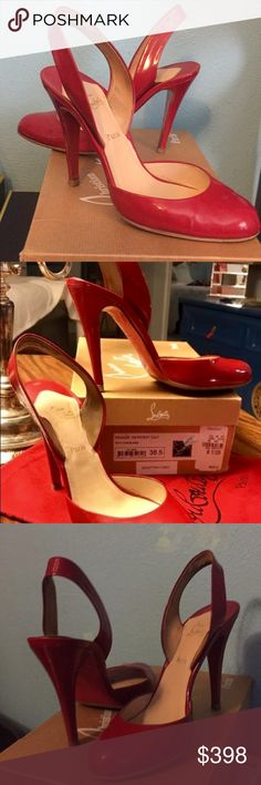 Christian Louboutin Red Heals In Box with tag from Neiman's. These fit true to size..8-8.5 and are comfortable..I couldn't believe it. They are in great shape. A few little scratches on the bottom of heel, but I did some work on them..not noticeable. Christian Louboutin Shoes Heels