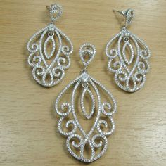 Massjewelry - Micro Setting White CZ 925 Sterling Silver Fancy Shape Jewelry Set