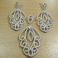 Massjewelry - Micro Setting White CZ 925 Sterling Silver Fancy Shape Jewelry Set