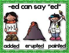 FREE 3 Sounds of -ed Posters! ....,Follow for Free 'too-neat-not-to-keep' literacy tools  fun teaching stuff :)