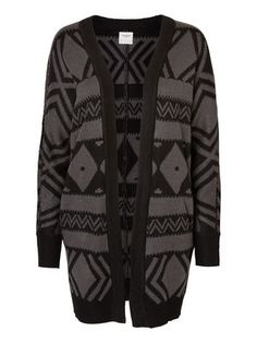 LONG KNITTED CARDIGAN, Black