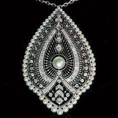 """Edwardian Princess pendant necklace, diamonds, pearls, platinum."""