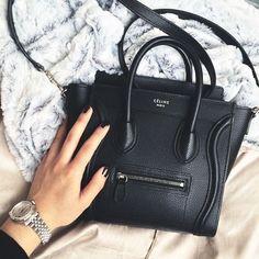 Instagram Celine black nano drummed luggage tote