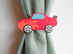 Sports Car Curtain Tie Backs Little Boys Sports by TonyaandJoshua, $14.35