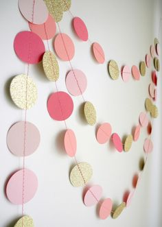 Gold+Pink+garland+glitter+garland+circle+paper++by+HoopsyDaisies,+$16.00
