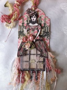 Character Constructions Easter Paper Doll Art Tag Antique Lace Victorian by ParisPluie. Love the tulle and fibers on the skirt