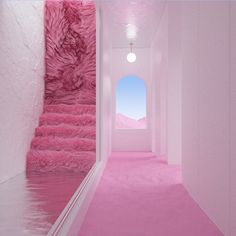 One of my first proposals the very first time I worked with a room full of pinky sand between stairs and a wall of fur… Neon Room, Pink Room, Interior And Exterior, Interior Design, Stage Design, Retro Futurism, Pink Aesthetic, Aesthetic Pictures, Wall Collage
