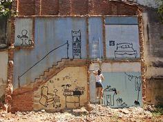 Simple, but creative work by Flavia Mielnik. Street Art Graffiti, Street Photo, Public Art, Urban Art, The Places Youll Go, Abandoned, Design Art, Art Pieces, My Arts