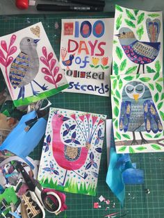 On my desk, the 100 day project. Tracey English Creating one hundred collaged postcards. Kids Painting Activities, Painting For Kids, Kids Art Class, Art For Kids, Group Art Projects, Birthday Card Design, Postcard Art, Back Art, Smart Art