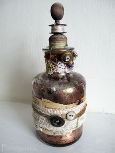 Bobbin Altered Art Bottle