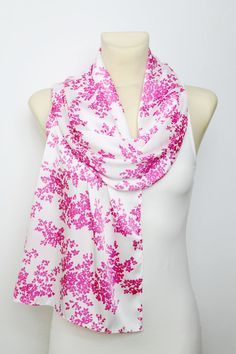 White & Pink Floral #Scarf  by #LocoTrends available now on #etsy www.locotrends.etsy.com #women #fashion #christmas #gifts #sale #coupon #buy3get1free