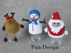 Eierwärmer Rudolph, Frosty und der Weihnachtsmann, Häkelanleitung