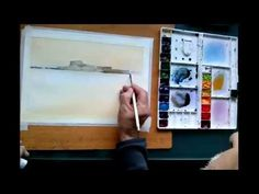 Pintando un puerto con reflejo