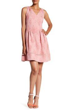Rose Jacquard Fit & Flare Dress