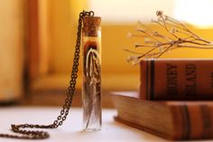 Real feather necklace, glass vial pendant, preserved specimen, gift for nature lover, Victorian curiosity, gypsy tribal, thoughtful gifts on Etsy, $38.54