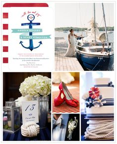 Whether you're planning a seaside celebration, or simply have a thing for sailor stripes and anchors, you'll want to sail off into the sunset after seeing this nautical themed inspiration board. Find more wedding inspiration boards at www.weddingpaperdivas.com!