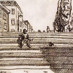 #173 Ondanks alles was meneer de Bruin toch op vakantie gegaan. Hij vond zichzelf terug op de trappen van een grote stad, met als enige andere levende wezen een vogel. Wist het beestje veel?