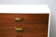 Pair of Mid-Century Modern Two-Tone Wood Cabinets Commodes Nightstands | From a unique collection of antique and modern commodes and chests of drawers at https://www.1stdibs.com/furniture/storage-case-pieces/commodes-chests-of-drawers/