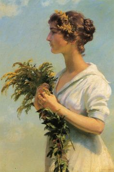 Charles Courtney Curran (American artist) 1861 - 1942, Girl with Goldenrod, 1915, oil on canvas, 76.2x 50.8 cm. (30 x 20 in.), private collection