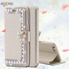 34014bd00f6 Luxury Peal Flip Case Cover For Samsung Galaxy edge edge Plus Note 3 4 5  Bling Diamond Silk Leather Full Wallet Bag