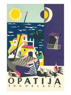 Travel Poster for Opatija, Yugoslavia Croatia Vintage Travel Poster #riviera #essenzadiriviera.com