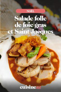 La salade folle de foie gras et Saint Jacques est une entrée de fête terre et mer. #recette#cuisine#entree#salade #foiegras #saintjacques #noel#fete#findannee #fetesdefindannee