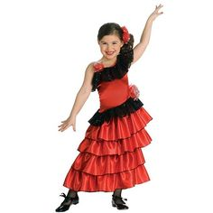 Flamenco Dancer Costume - Kids, Girl's, Size: M, Black/Red